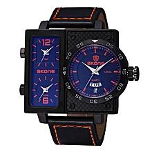 Skone New  Big Case Men Watch Quartz Top Luxury Brand Leather Strap Clock Business Wristwatch Men relogio masculino (Blue) JY-M