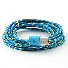Micro USB  Data Cable Denim Mobile Phone USB Charging Cable 1.2M - Blue and Yellow