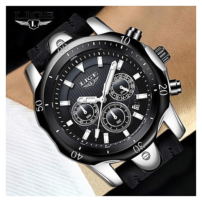 Lige Lige Mens Watches Top Brand Luxury Watch Men Military Leather