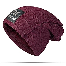 ee9a6a116d8 Fashion Mens Winter Plus Velvet Warm Knitted Hat Casual NC Letter Solid  Skullies Beanie Hat