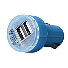 New Bullet Adaptor Dual USB 2-Port Car Charger For iPhone iPod Touch BU-Blue