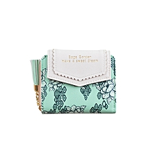 singedanLadies Printed Short Pouch Coinage Card Bag Tassel Razha Bag GN -green