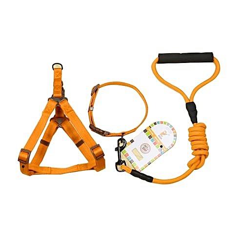 Pet Dog Collar + Harness + Leash Three Sets, S, Harness Chest Size: 34-50cm, Collar Neck Size: 24-35cm, Pet Weight: 8kg Below(orange)