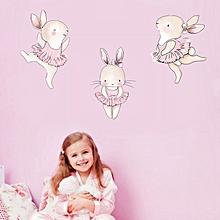 3PCS Nordic Animal Dance Rabbit Decorative Wallpaper