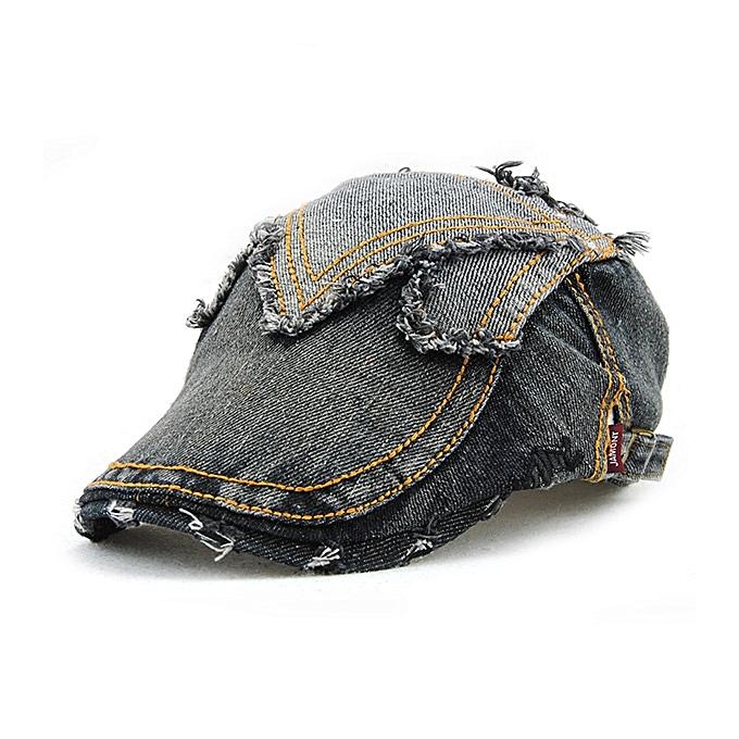 19c9a982 Unisex Cotton Denim Jeans Washed Newsboy Beret Hat Duckbill Golf Buckle  Cabbie Cap For Men Women