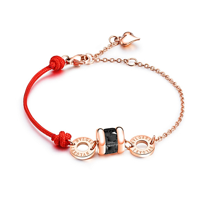 Women Charm Ring Cross Bracelet Rose Gold Stainless Steel Jewelry 14 5 5cm