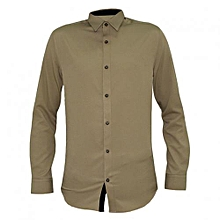 Beige Men's Long Sleeved Shirts