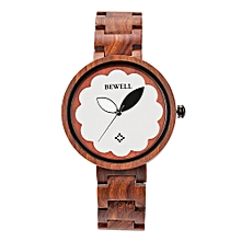 BEWELL ZS-W152A Women Wood Watch Round Quartz Movement Vintage Casual Analog Wrist Watch