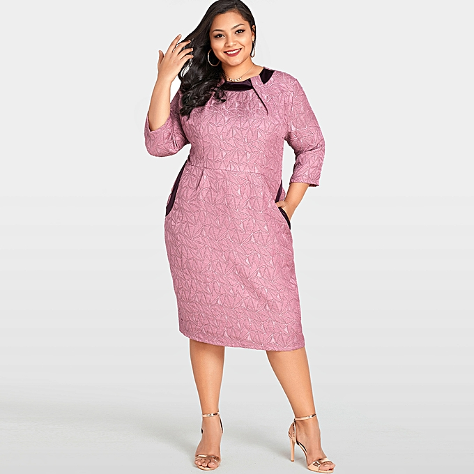 8fb878648 Women Sexy Plus Size Dress Solid Geometry Elegant Slim Midi Dress Bodycon  Dress Pink