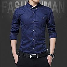 Cotton Slim Fit Office Formal Shirts Men Long Sleeve Business Shirts (Blue)