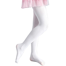 Children's Girls Ballet Dance Tights Footed Seamless Solid Stockings-White