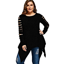 Plus Size Marled Ripped Sleeve Handkerchief Top - BLACK