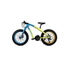 "20"" 21 Speed Blue Yellow Fat Tire Mountain Bike"