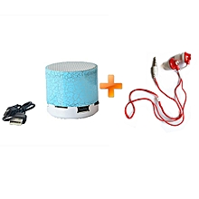 Mini LED Bluetooth Wireless Speaker  TF Portable For Cell Phone-Blue,Get One Free Ofia Earphone