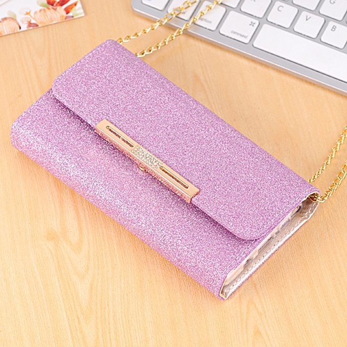 For Samsung Galaxy Note 8 Glitter Powder Frosted Shoulder Bag Horizontal  Flip Leather Case Cover With Card Slots (Purple)