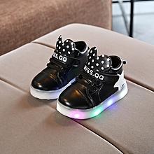 Baby unisex star round point magic sticker mid-shoe Black
