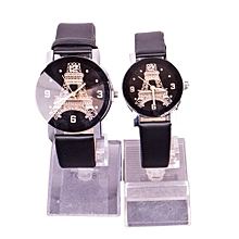 1 Pair of Couple Wrist Watch Casual PU Leather Round Dial Watchband -Black