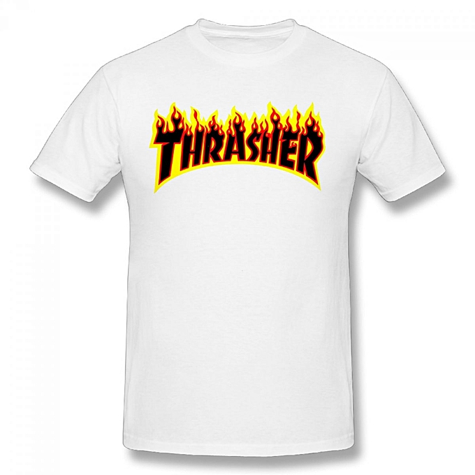 f78ea3ad7638 Generic Thrasher Flame Logo Men's Cotton Short Sleeve Print T-shirt ...