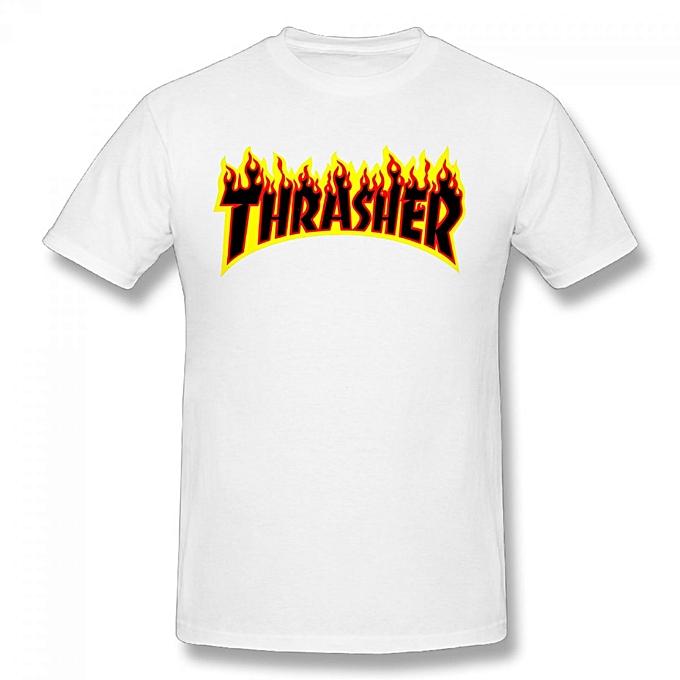 17ace11041ab Generic Thrasher Flame Logo Men s Cotton Short Sleeve Print T-shirt ...