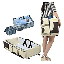 Baby Travel Bed & Magical Baby Bag- 4 in 1 Multifunctional Baby Travel Bed Cot Baby Bassinet and Diaper Bag-CREAM and BROWN