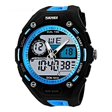 1015 Men Sports Fashion Watch Mens Digital Military Army Watches LED Sport Quartz Wristwatches - Blue