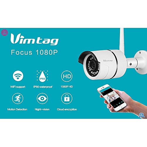 Vimtag 1080P HD Outdoor WiFi Security Camera, Weatherproof, Night Vision,  Motion Detection, Real-Time APP Push Alerts, Compatible with