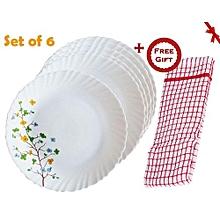 6Pcs Diva Classique Dinner Plates - Floral Magic Print (+ Free Gift Hand Towel).