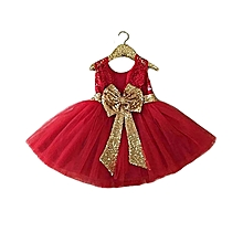 New 2018,Baby girl, Red Party princess fancy dress- with detachable golden bow