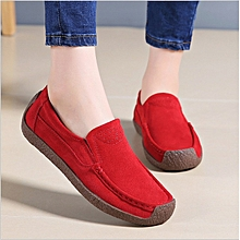 Korean Casual Shoes for lady's slip-on flat Loafer fringed thick bottom soft suede boat shoes.