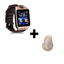 DZ09 1.56 Smart Watch - 0.3MP Camera + Mini Earphone Headset - Gold Brown