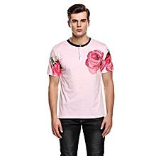 Men Fashion O-Neck Short Sleeve Floral Print Button T-Shirt ( Pink )