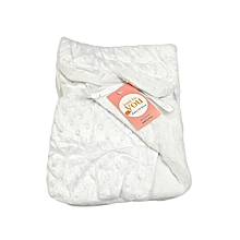 Super Soft Baby Double Layer Receiving Blanket / Shawl  -  White