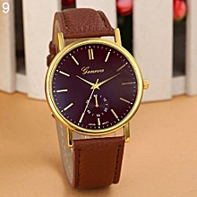 Women's Fashion Faux Leather Band Round Dial Analog Quartz Wrist Watch Gift-Brown