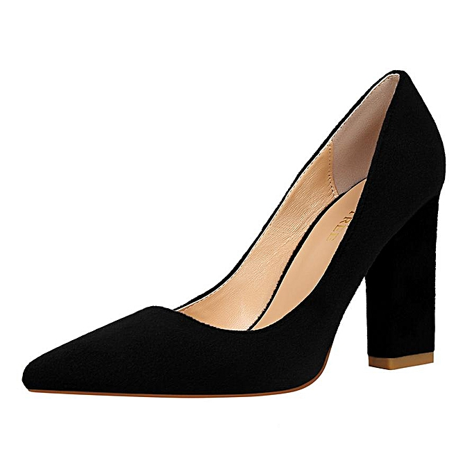 0a86bd2072 Fashion Fashion High-Heeled Shoes Woman Pumps Pointed Toe Square Heel Party  Women Shoes Suede Wedding Shoes Closed Toe High Heels Ladies Shoes (Black)