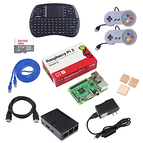 Raspberry Pi 3 1GB Model B Game Console Accessories Kit RetroPie Emulation  Station with Media Center Loaded 32GB Micro SD Card