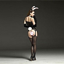 Sexy Lingerie Women Open Bow Crotch Wrapped Chest Mesh Stocking Intimates