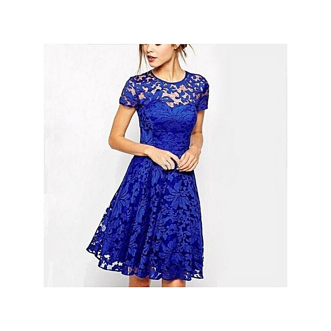 d8dae9ec232 Fashion Cool Comfortable Dresses For Ladies Women Floral Lace Party Dresses  Short Sleeve Casual Color Blue