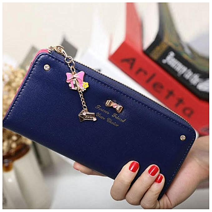 f06c6bf644 Fashion jiuhap store Women Clutch Long Bow Pendant Purse Wallet Card Holder Handbag  Bag NY- Navy
