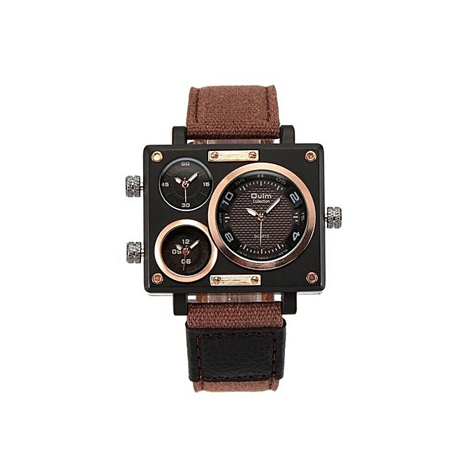 de64a5af2a9 Generic OULM Collection Men s Quartz Watch Rectangle Case 3 Time Zones  Fabric Leather Military Sports Watch Men Relogio Masculino(Brown)