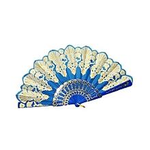 Chinese Silk Folding Fan -Blue