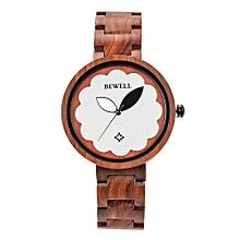 ZS-W152A Women Wood Watch Round Quartz Movement Vintage Casual Analog Wrist Watch