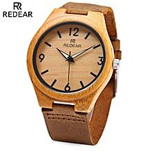 SJ 1448 - 8 Wooden Female Quartz Watch Leather Strap Luminous Pointer Wristwatch-GREEN + BROWN