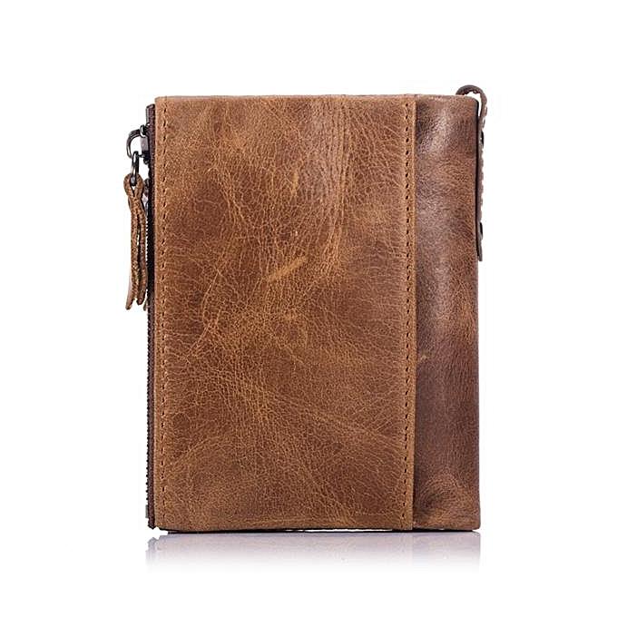 ... Bullcaptain Vintage Genuine Leather Card Holder 2 Zipper Pockets Coin Bag Fashion Wallet For Men ...