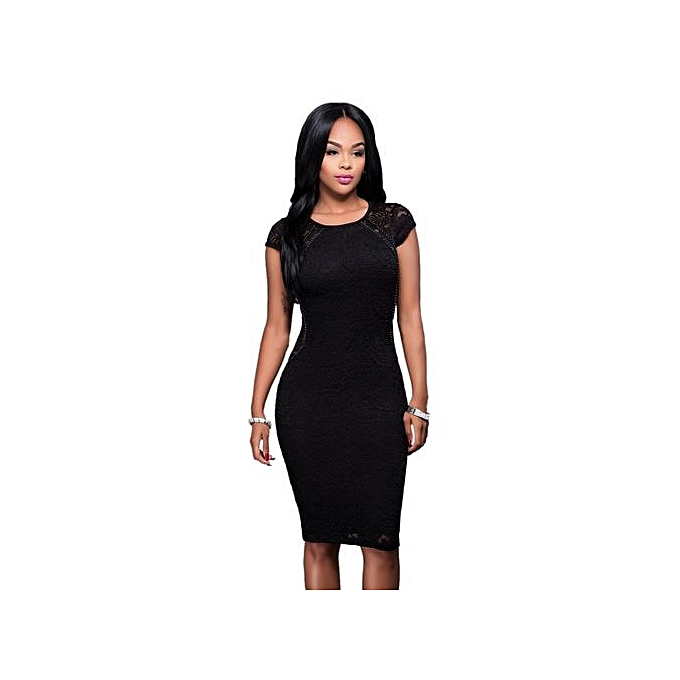 Refined Sexy Women Lace Midi Dress Short Sleeve O-neck Slim Fit Wrapped  Dress- a879485ee3