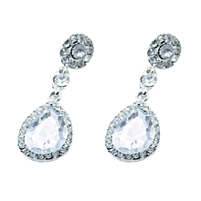 1Pair Women Drop Shape Alloy Ear Stud Imitation Crystal Earrings Jewelry WH