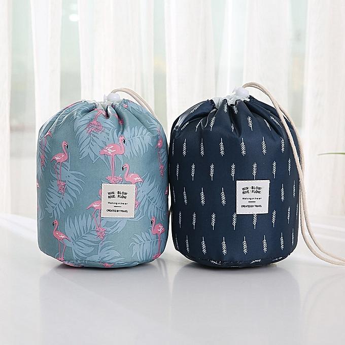26e876cfdddb Drawstring Barrel Shaped Cosmetic Bag Large Capacity Storage Makeup Bag  Waterproof Wash Bag Women Travel Lazy Makeup Bag(Navy feather)