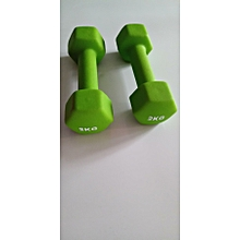 2KG DUMBBELL GYM WEIGHT NEOPRENE HEXAGONAL SHAPE GREEN