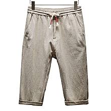 Mens Linen Cotton Antibacterial Breathable Calf-Length Pants Loose Casual Homewear Shorts