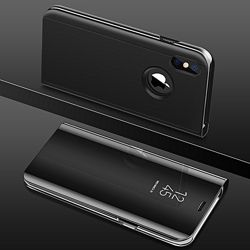 buy popular 88966 94317 for iPhone 7 Plus phone case Luxury Clear View Smart Mirror Phone Case Flip  Stand-Black