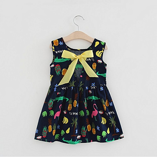 edd06ca2d199a Summer Dress Baby Girls Dress Cotton Crocodile Pattern Sleeveless Dress  royal blue 120